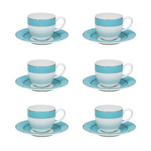 Conjunto de 06 xícaras 110 ml com pires para cafezinho Strauss Folies