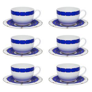 Conjunto de 06 xícaras 270 ml com pires para chá Strauss Folies