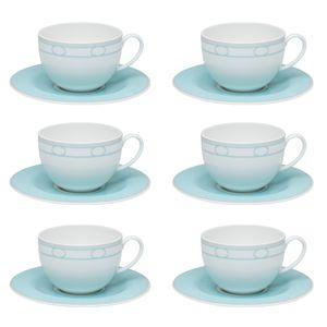 Conjunto de 06 xícaras 270 ml com pires para chá Strauss Hera