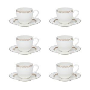 Conjunto de 06 xícaras 110 ml com pires para cafezinho Strauss Lumière
