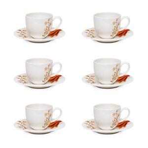 Conjunto de 6 Xicaras De Cafezinho 110Ml Com Pires Strauss Fiori